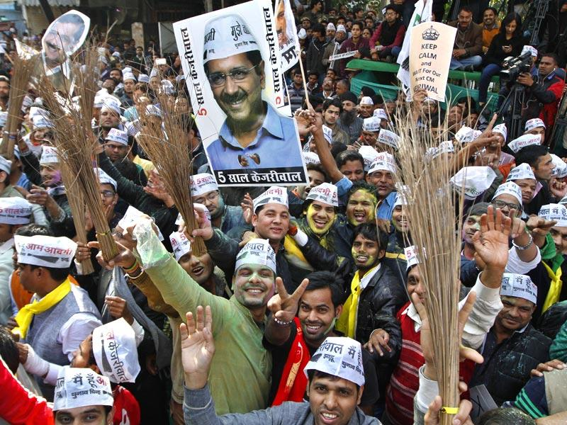 Aam Aadmi Party supporters outside party office in Patel Nagar on day of vote counting for Delhi Assembly Election 2015, in New Delhi. (HT photo/Arvind Yadav)