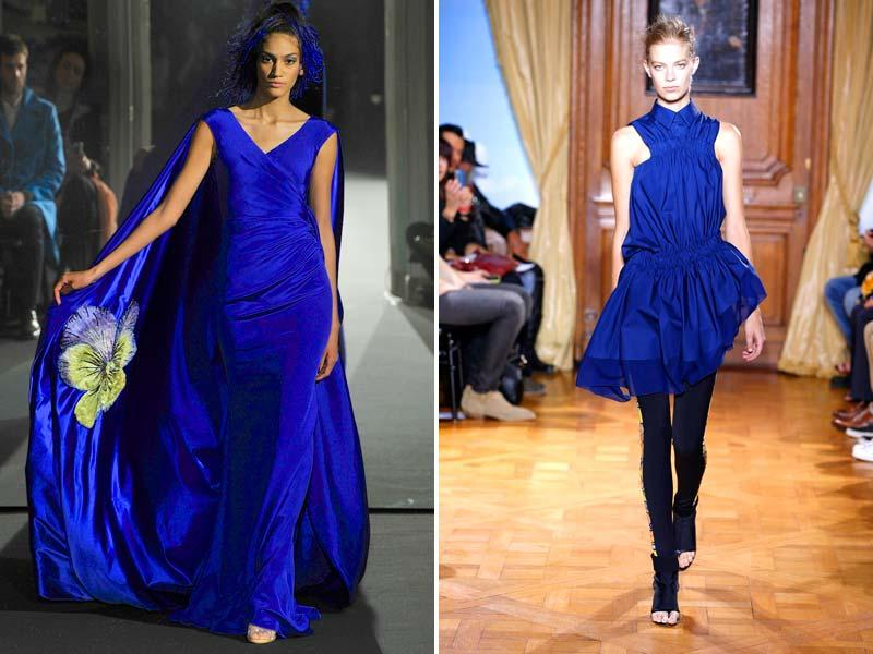 If you invest in one shade of blue make it cobalt. Spring's must-have blue is being channelled by many luxury labels.Cobalt blue strikes again at the Alexis Mabille Spring Haute Couture show (left). This time in a gleaming caped gown and matching feather hair extensions. An indigo shirt dress (right) spotted at Viktor&Rolf SS15 Ready-to-Wear runway show in Paris.