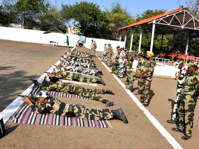 Shooters participate in the 45th inter-frontier platoon weapons shooting championship at BSF's Reoti Range in Indore on Thursday. (HT photo)