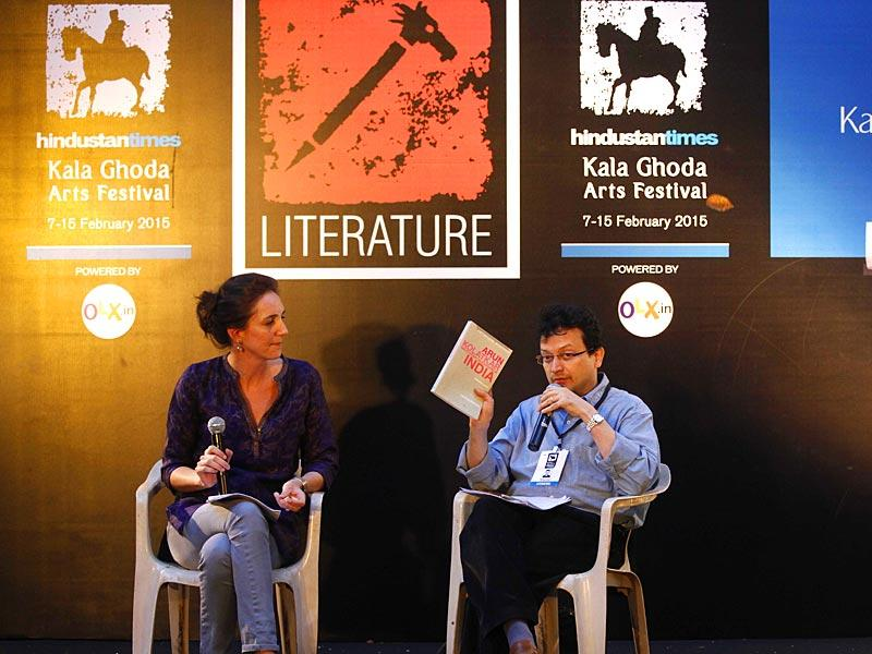 Latitia Zecchini (L) and Ranjit Hoskote (R) discuss about Arjun Kolatkar's book at David Sassoon Library as a part of the HT Kala Ghoda Arts Festival in Mumbai. (Pratham Gokhale/HT photo)