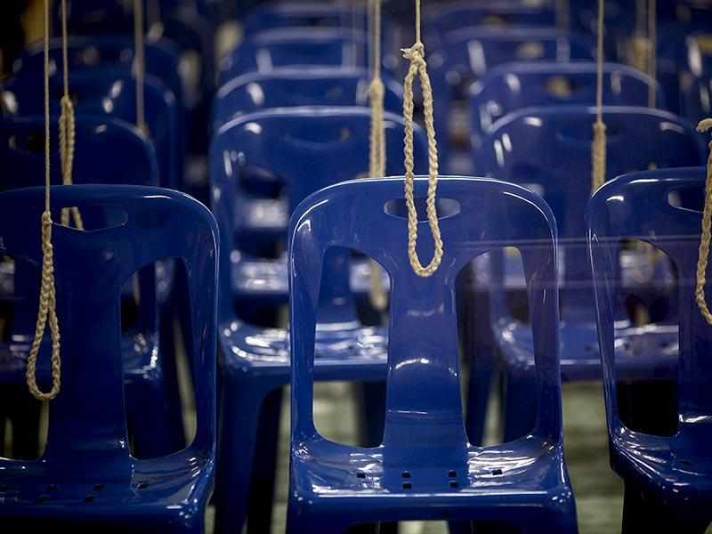 Chairs and ropes are ready for a wedding ceremony at Wat Takien temple in Nonthaburi province, on the outskirts of Bangkok on Valentine's Day. (Reuters)