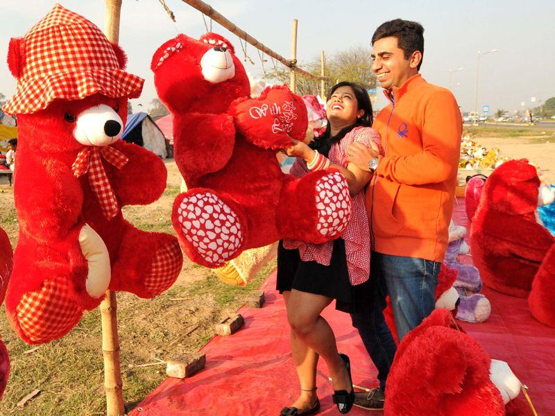 A young couple cuddling with a soft toy on the outskirts of Chandigarh. HT Photo