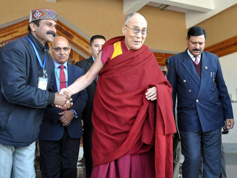 Tibetan spiritual leader the Dalai Lama arrives at Gaggal airport near Kangra town after a two month long tour across India and abroad. Shyam Sharma/HT