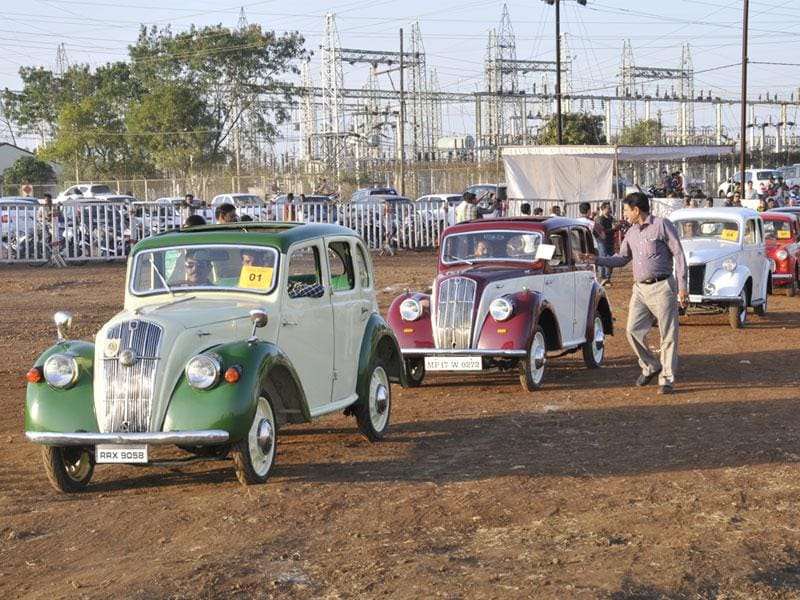 A vintage car rally being taken out during the Bhoj Adventure Fest in Bhopal on Saturday. (Praveen Bajpai/HT photo)
