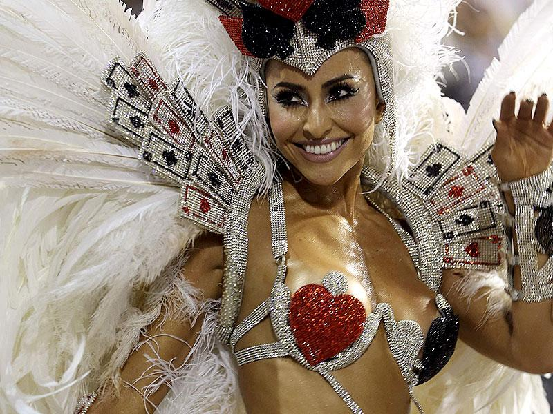 Brazilian model Sabrina Sato parades for Gavioes da Fiel Samba School during the carnival parade at Anhembi Sambadrome in Sao Paulo, Brazil. (Reuters)