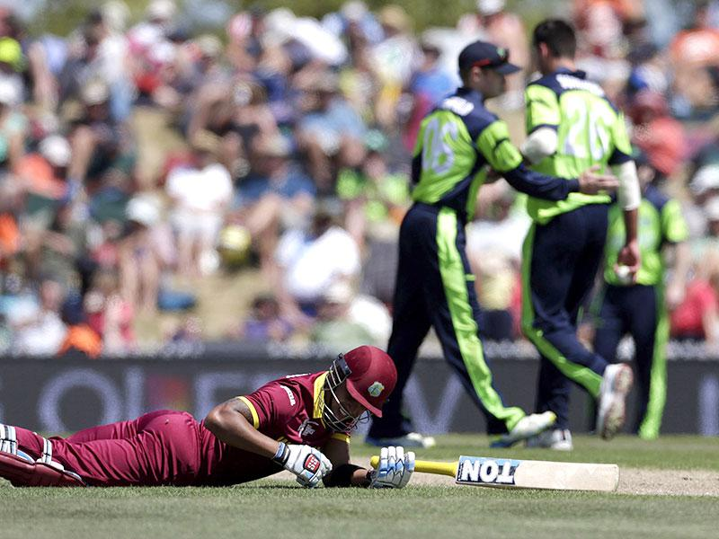 West Indies batsman Lendl Simmons makes his ground during their Cricket World Cup match against Ireland in Nelson. Reuters