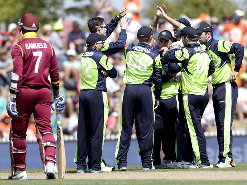 West Indies batsman Marlon Samuels (L) is out during their Cricket World Cup match against Ireland in Nelson. Reuters