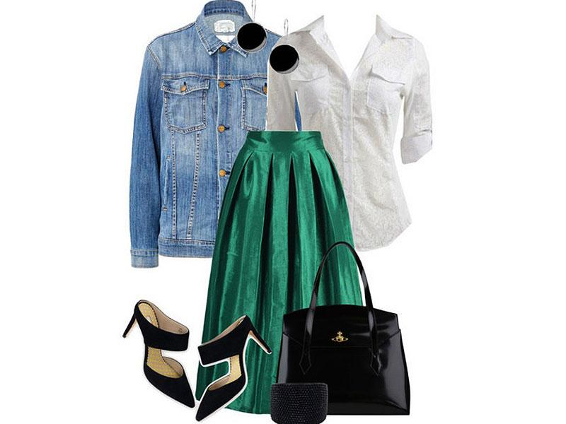 Jade shimmer: Choies skirt, Boden shoes, Wet Seal top, Current/Elliott jacket, Vivienne Westwood bag, Kenneth Jay Lane cuff, First People First earrings