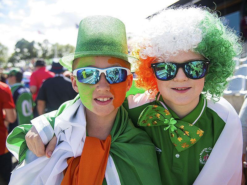 Young Irish fans pose for a photo during the Pool play 2015 Cricket World Cup match between Ireland and the West Indies at Saxton Park Oval in Nelson, New Zealand. AFP photo