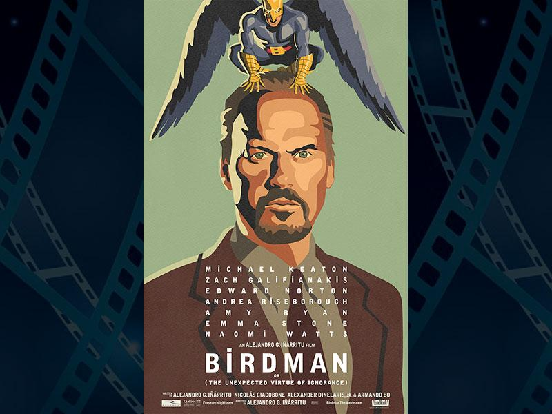 Birdman, directed by Alejandro Gonzalez Inarritu and starring Michael Keaton leads with 9 nominations. (Photo: IMDb)