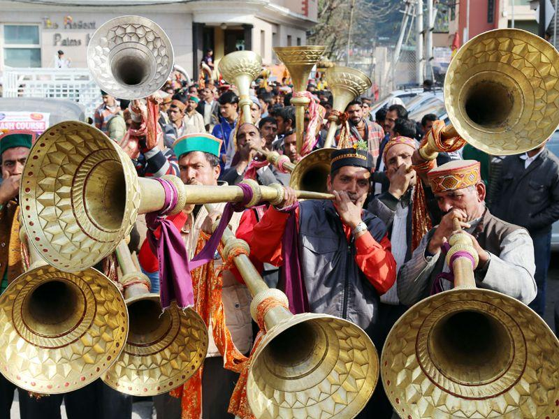 Local deities reached Mandi to participate in week long Shivaratri fair in Mandi.Birbal Sharma/HT