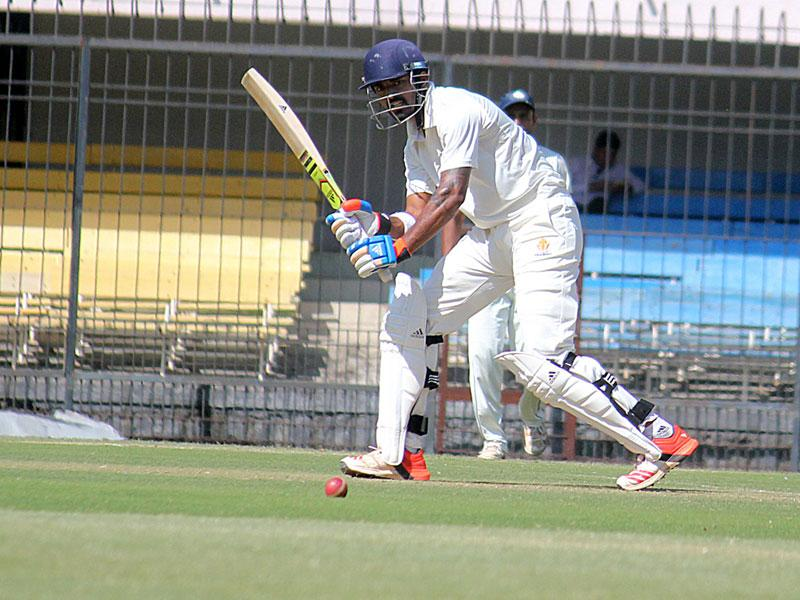 KL Rahul of Karnataka in action against Assam on the first day of the Ranji trophy quarterfinal match in Indore on Monday. (Shankar Mourya/HT photo)