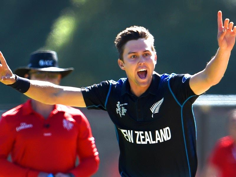 New Zealand bowler Trent Boult celebrates after dismissing Scotland batsman Hamish Gardiner during their 2015 Cricket World Cup match in Dunedin. (AFP Photo)
