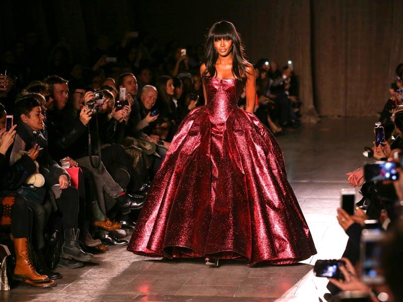 Model Naomi Campbell walks the runway during the Zac Posen fashion show in New York City. (AFP)