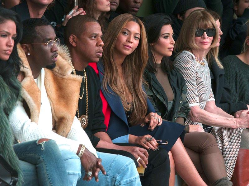 Best seats: Sean Combs, Jay-Z, Beyonce sit with Kim Kardashian during Kanye West's Fall/Winter 2015 show with Adidas. (Reuters)