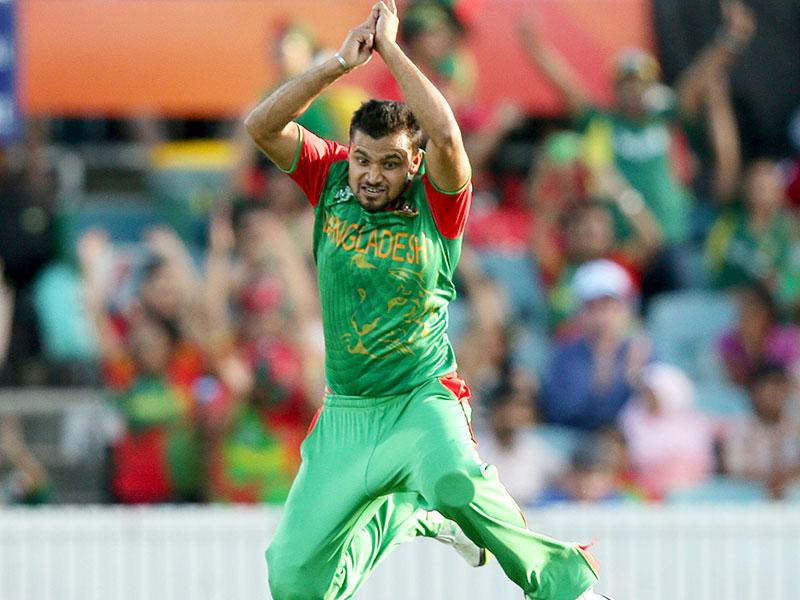Mashrafe Mortaza celebrates after taking a wicket. (AP Photo/Rob Griffith)