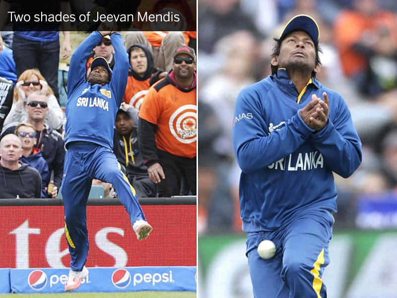(Left) Sri Lanka's Jeevan Mendis pulls off an athletic catch at the boundary to dismiss New Zealand skipper Brendon McCullum (not in picture) in Christchurch on February 14. (Right) Mendis misses a catch off Corey Anderson. (Reuters Photos)