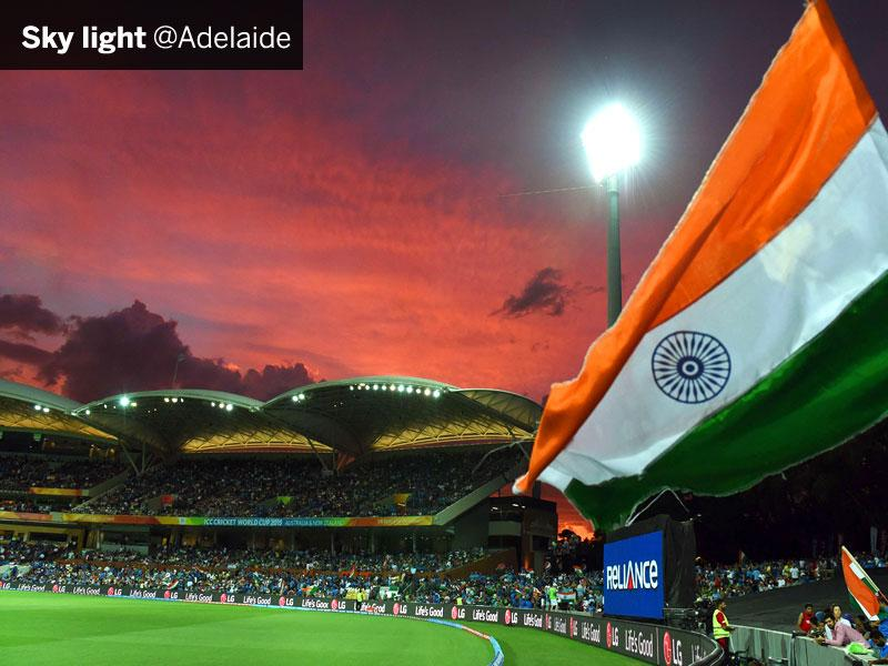 Indian fans wave the tricolour during the match against Pakistan in Adelaide on February 15. (AFP Photo)