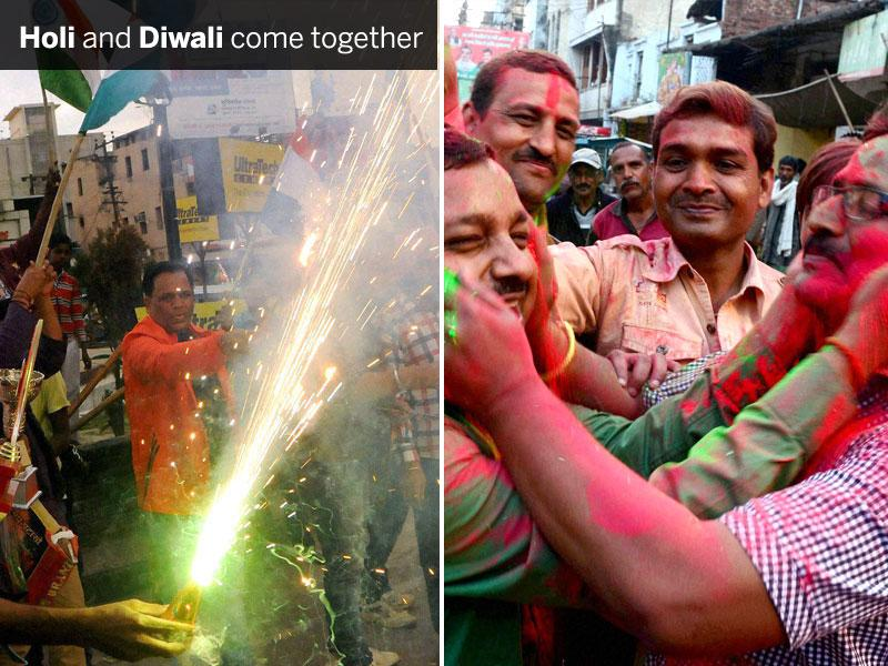 (Left) Celebrations with colours in Allahabad on Sunday following India's victory against Pakistan. (Right) Fans rejoice following the victory, at Albert Ekka Chowk in Indian skipper MS Dhoni's hometown Ranchi. (PTI Photos)