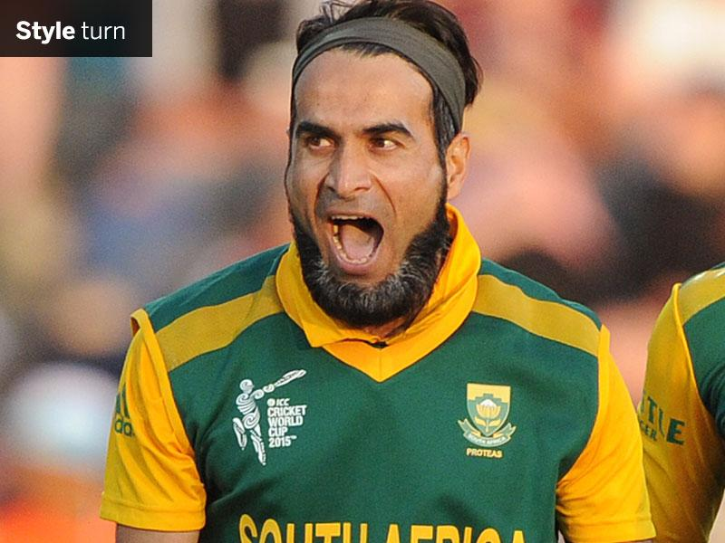 South Africa's Imran Tahir yells out after taking the wicket of Zimbabwe's Chamu Chibhabha at Hamilton on February 15. (AP Photo)