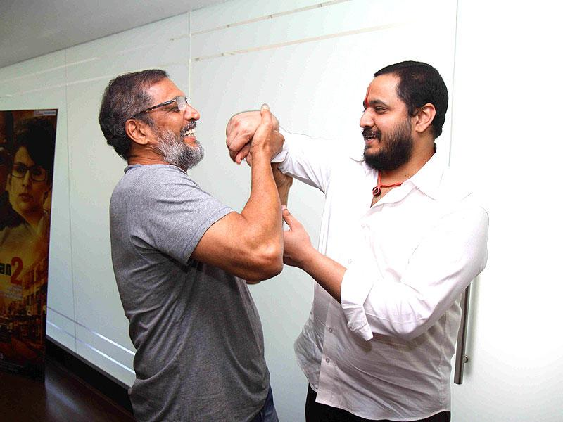 Actor Nana Patekar along with his son Malhar Patekar during the promotion of film Ab Tak Chhappan 2 in Mumbai on Feb 17, 2015. ( Photo : IANS )