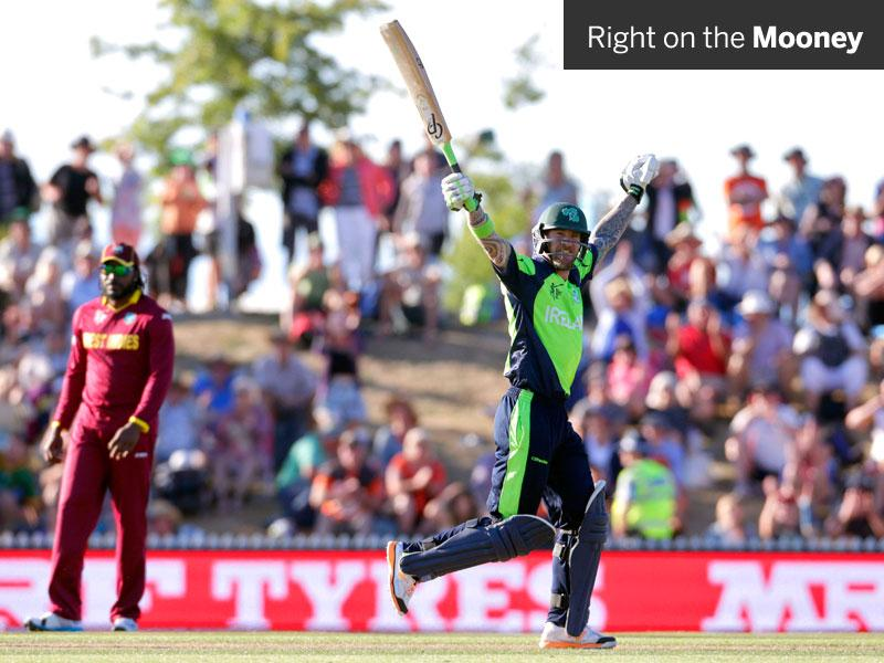 Ireland's John Mooney celebrates hitting the winning runs against West Indies at the Saxton Oval in Nelson on February 16. (Reuters Photo)