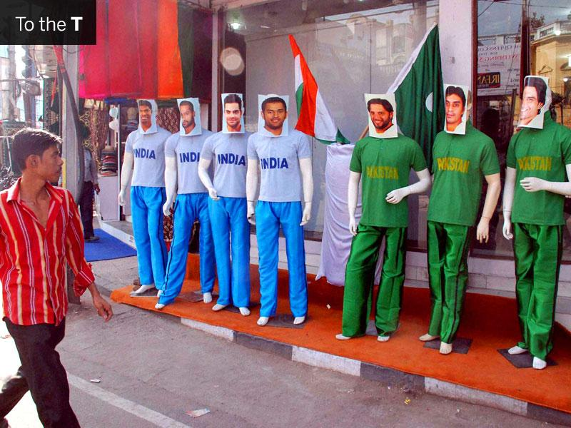 Mannequins dressed as Indian and Pakistani cricketers outside a showroom in Old City, Hyderabad. (PTI Photo)
