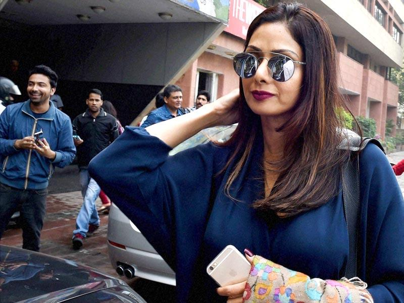 Sridevi spotted in New Delhi on Friday. (PTI Photo)