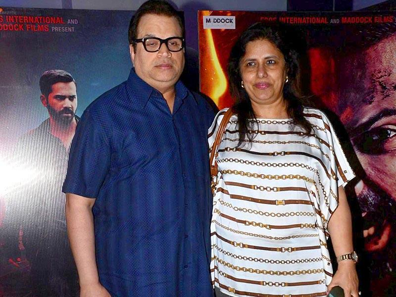 Filmmaker Ramesh Taurani with his wife Varsha at the special screening of Badlapur in Mumbai. (Photo: IANS)