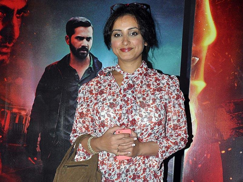 Divya Dutta, who plays a social activist in Badlapur, at the special screening of the movie. (Photo: IANS)