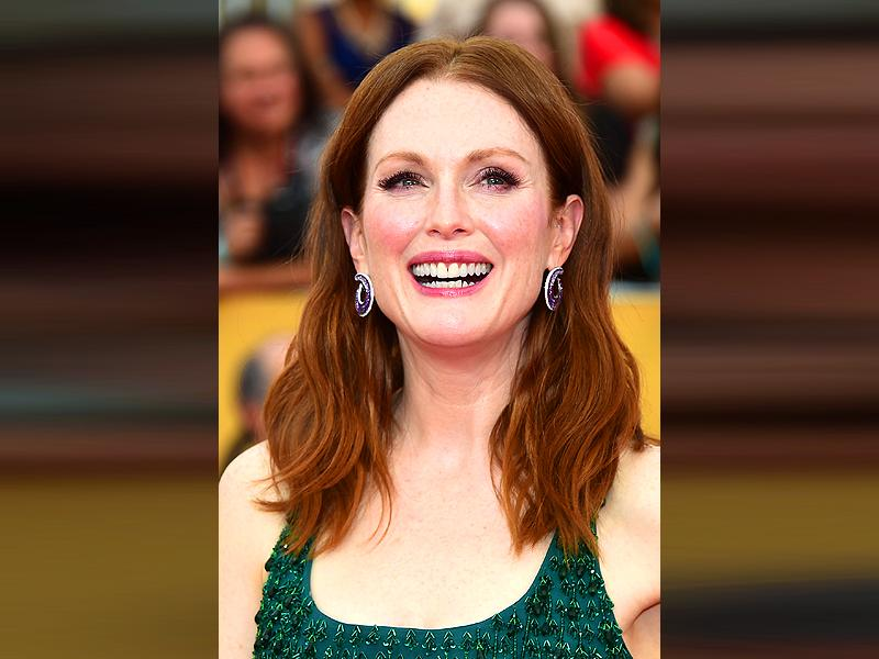 A palette of pinks and purples was something of a change for the US actress. Seen at the Screen Actors Guild Awards in January, flushed cheeks and bold pastel lip left her looking like the perfect English rose.