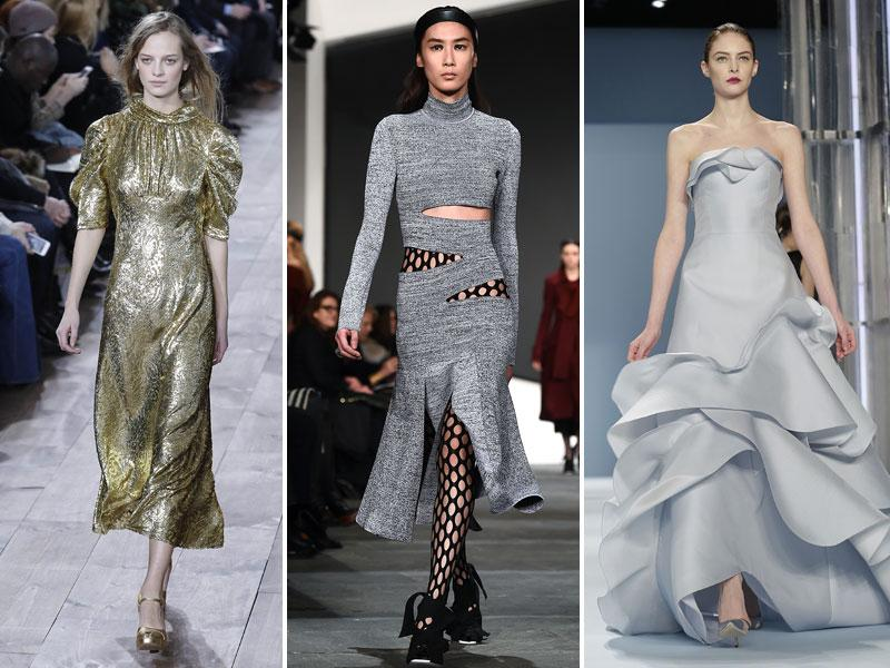 Mid calf-skimming dress by Michael Kors (left), slashed necklines over polonecks by Proenza Schouler (middle), flashbulb-friendly couture-inspired by Carolina Herrera (right). (AFP)