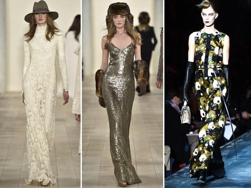 Textural floor-length lace dress by Ralph Lauren (left), sensational sequined slip dress by Ralph Lauren (middle), beautiful sleeveless sequined gown by Marc Jacobs (right). (AFP)