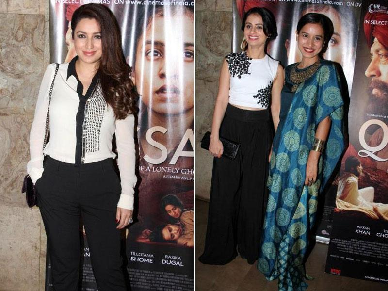 Actors Tisca Chopra, Rasika Dugal (centre), Tillotama Shome (right) during the screening of film Qissa in Mumbai on February 19, 2015. (IANS)