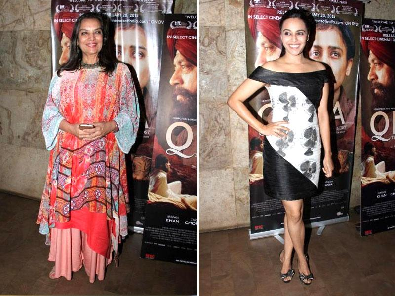 Actors Shabana Azmi and Swara Bhaskar at the screening of the new film Qissa in Mumbai on February 19, 2015. (IANS)
