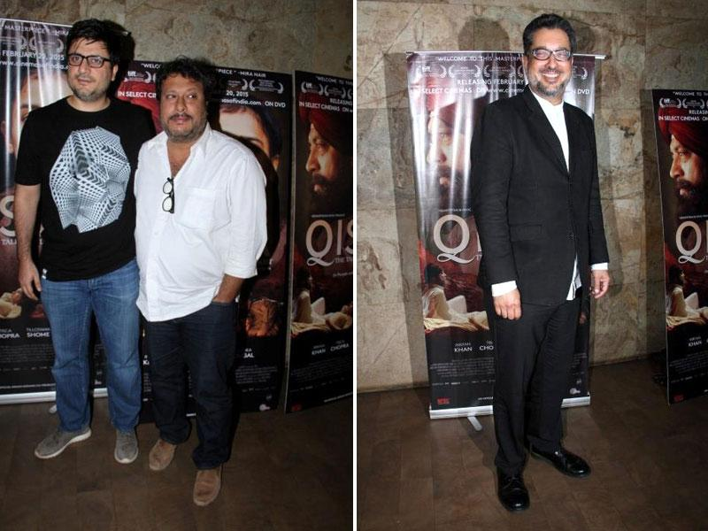 Filmmakers Goldie Behl (left), Tigmanshu Dhulia and Qissa director Anup Singh (right) during the screening of the film in Mumbai on February 19, 2015. (IANS)
