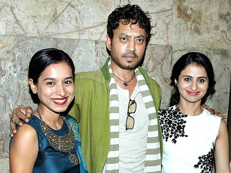 Bollywood actors Tillotama Shome, Irrfan Khan and Rasika Dugal pose during the screening of film Qissa in Mumbai on Thursday. (PTI)