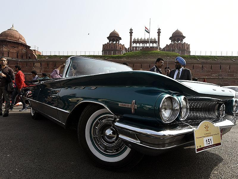 A vintage car participating in the 5th 21 Gunsalute International Vintage Car Rally in New Delhi. (HT Photo/Subrata Biswas)