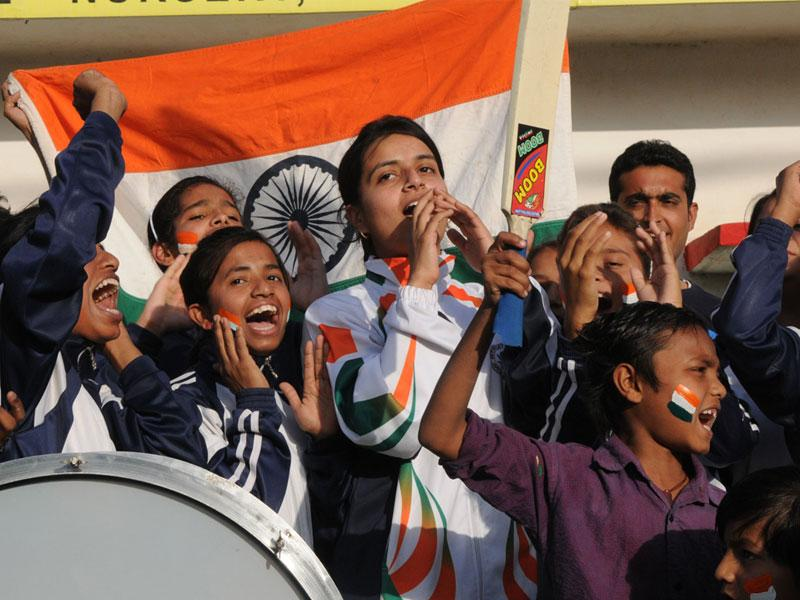 Cricket lovers of Bhopal Sports Academy celebrate India's victory over South Africa in World Cup, in Bhopal on Sunday. (Mujeeb Faruqui/HT photo)