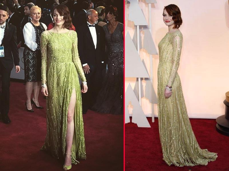 Emma Stone channels Daisy from The Great Gatsby in glittering green. (Twitter)