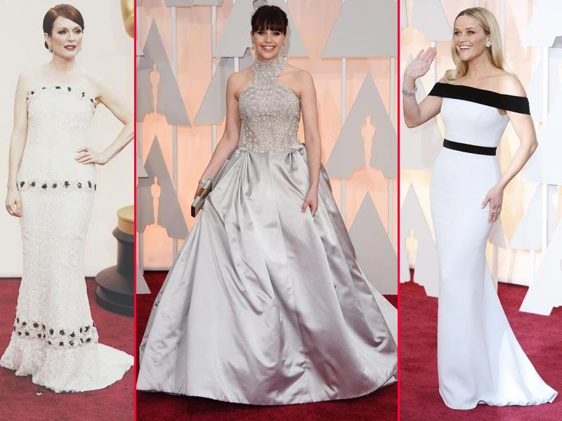 Julianne Moore, Felicity Jones and Reese Witherspoon were visions of beauty in white and silver. (Twitter)