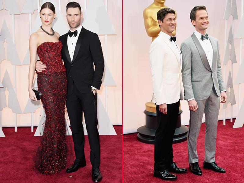 Adam Levine and Neil Patrick Harris with their spouses Behati Prinsloo and David Burtka. (Twitter)