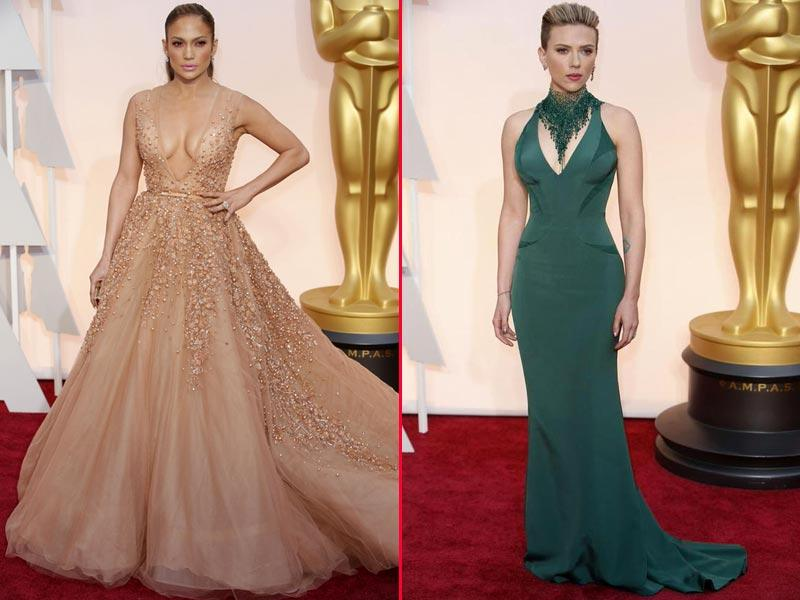 Jennifer Lopez and Scarlett Johansson wore plunging gowns. (Twitter)