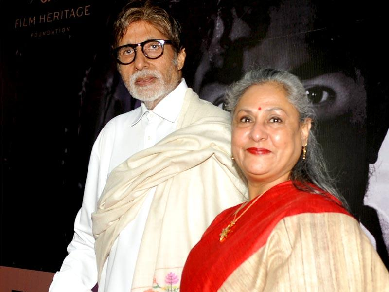 Amitabh Bachchan and Jaya Bachchan paid a visit to the Film Preservation and Restoration School India workshop. (AFP)