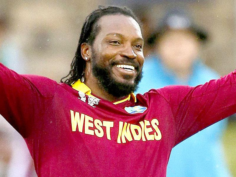 West Indies batsman Chris Gayle celebrates after scoring a double century during their World Cup Cricket match against Zimbabwe in Canberra. (Reuters Photo)