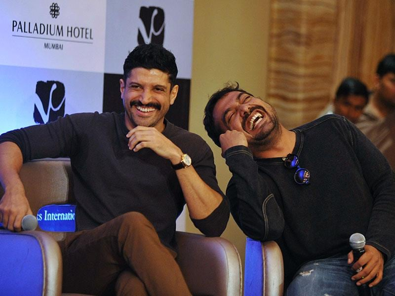 Share the joke with us, folks? Anurag Kashyap and Farhan Akhtar share a light moment. (AFP Photo)