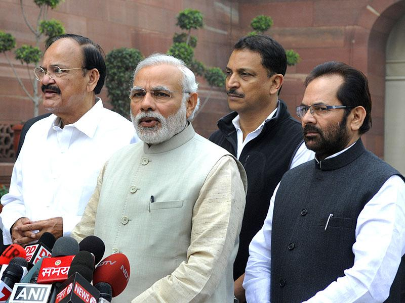 Prime Minister Narendra Modi addressed the media on the first day of the budget session. (HT Photo/Mohd Zakir)
