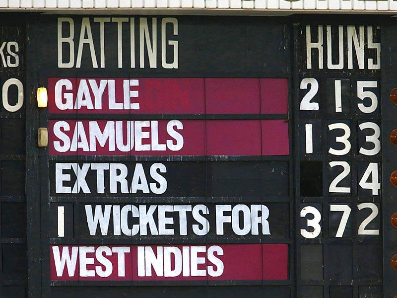 The scoreboard reflects the record-setting partnership of West Indies batsmen Chris Gayle and Marlon Samuels against Zimbabwe during their 2015 Cricket World Cup match at Manuka Oval in Canberra. (Reuters Photo)