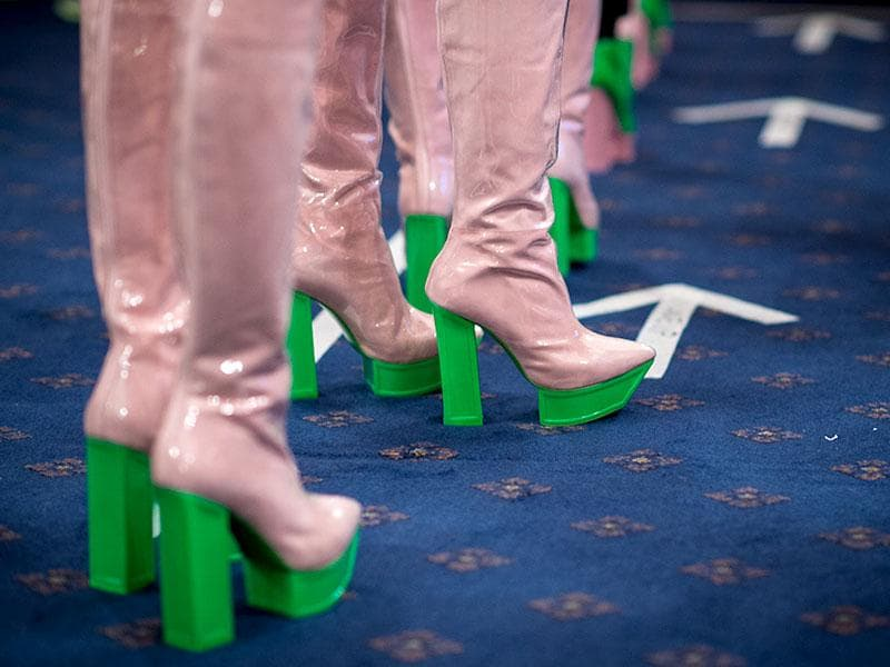 Futuristic platform boots were sported on the Fyodor Golan runway in pastel pink and Lego green.