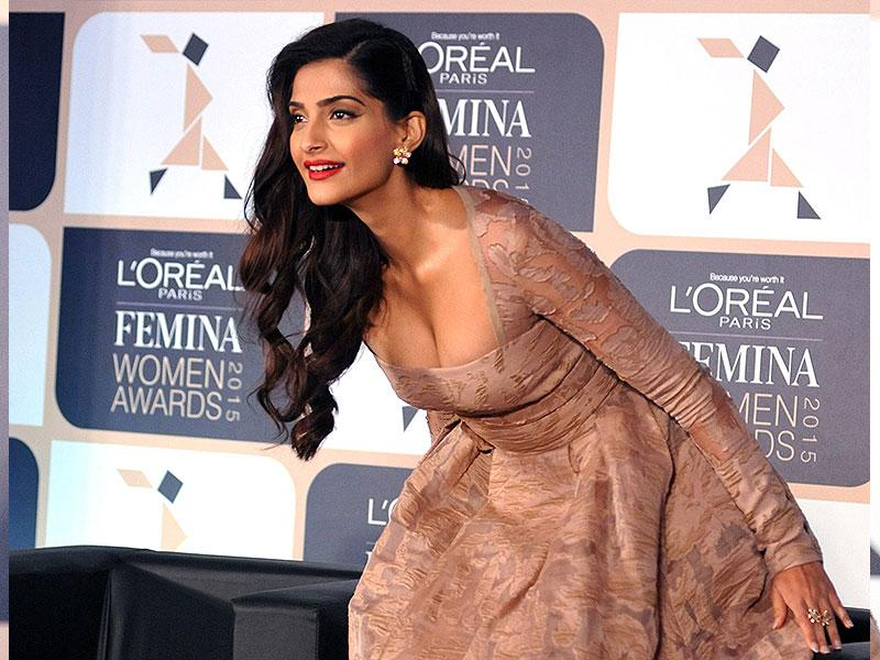 Let's play a game, I will run away and all of you can have fun chasing me. I'm already having fun thinking about it!: Sonam Kapoor at an awards announcement ceremony in Mumbai on February 24, 2015. (AFP Photo)